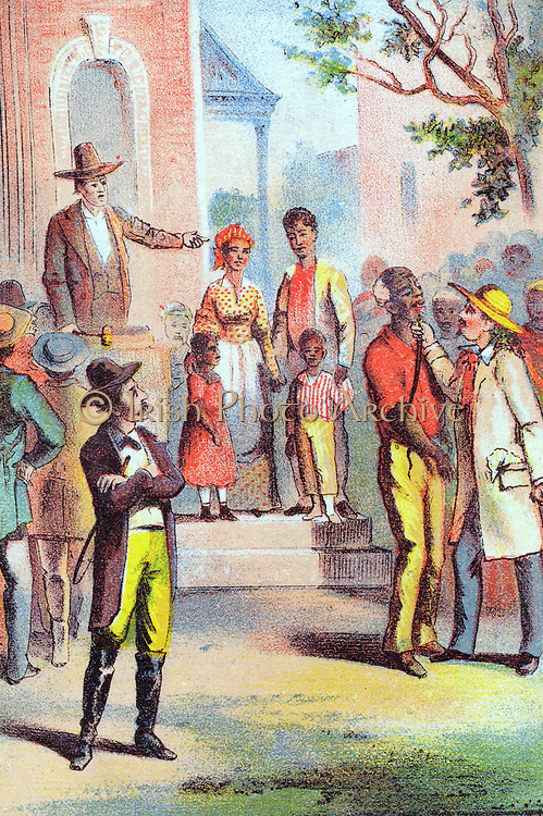 Harriet Beecher Stowe 'Uncle Tom's Cabin' first published 1852. Slave Auction: Haley the slave trader examining one of the 'lots' up for auction. Chromolithograph c1870