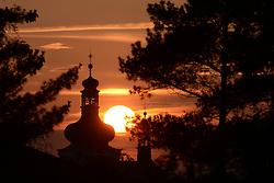 May 1, 2019 - Mnichovo Hradiste, Czech Republic - Sunset over the church of St. Jakub in Mnichovo Hradiste in Czech Paradise in the Czech Republic. (Credit Image: © Slavek Ruta/ZUMA Wire)