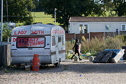 © Licensed to London News Pictures. 19/09/2011. Crays Hill, UK. Activists and residents at the Dale Farm travellers site in Essex prepare for the council to enforce an eviction notice which is due to start today (19/09/2011). Photo credit: Ben Cawthra/LNP