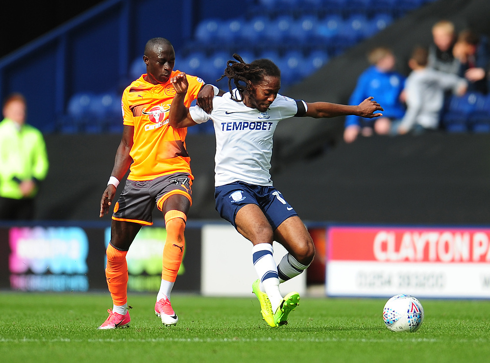 Preston North End's Daniel Johnson under pressure from Reading's Modou Barrow<br /> <br /> Photographer Kevin Barnes/CameraSport<br /> <br /> The EFL Sky Bet Championship - Preston North End v Reading - Saturday 19th August 2017 - Deepdale Stadium - Preston<br /> <br /> World Copyright © 2017 CameraSport. All rights reserved. 43 Linden Ave. Countesthorpe. Leicester. England. LE8 5PG - Tel: +44 (0) 116 277 4147 - admin@camerasport.com - www.camerasport.com