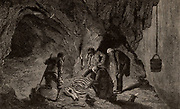 Excavating fossil remains in the great bone cavern, Maastricht, The Netherlands. The bones are those of the Mososaurus. From 'The Science Record' (New York, 1873).  Engraving. Geology. Palaeontology.