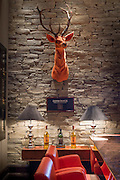 The famous Glenmorangie orange stag and single malt whisky in the Great Scots Bar at The Cameron House Hotel Glasgow, Scotland