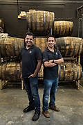 Vishal Gauri and Virag Saksena (right) pose for a portrait at 10th Street Distillery in San Jose, California, on September 4, 2019. (Stan Olszewski for Content Magazine)