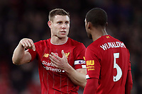 Football - 2019 / 2020 Premier League - Liverpool vs. Manchester City<br /> <br /> James Milner of Liverpool speaks with Georginio Wijnaldum at the end of the match, at Anfield.<br /> <br /> COLORSPORT/PAUL GREENWOOD