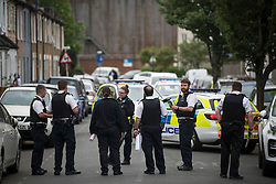 © Licensed to London News Pictures. 04/06/2020. London, UK. A heavy police presence at the scene at Harlesden, North West London where a young child and three adults were shot at an address on Energen Close on Wednesday evening. All four were taken to hospital by ambulance, with police waiting for an assessment on their conditions. . Photo credit: Ben Cawthra/LNP