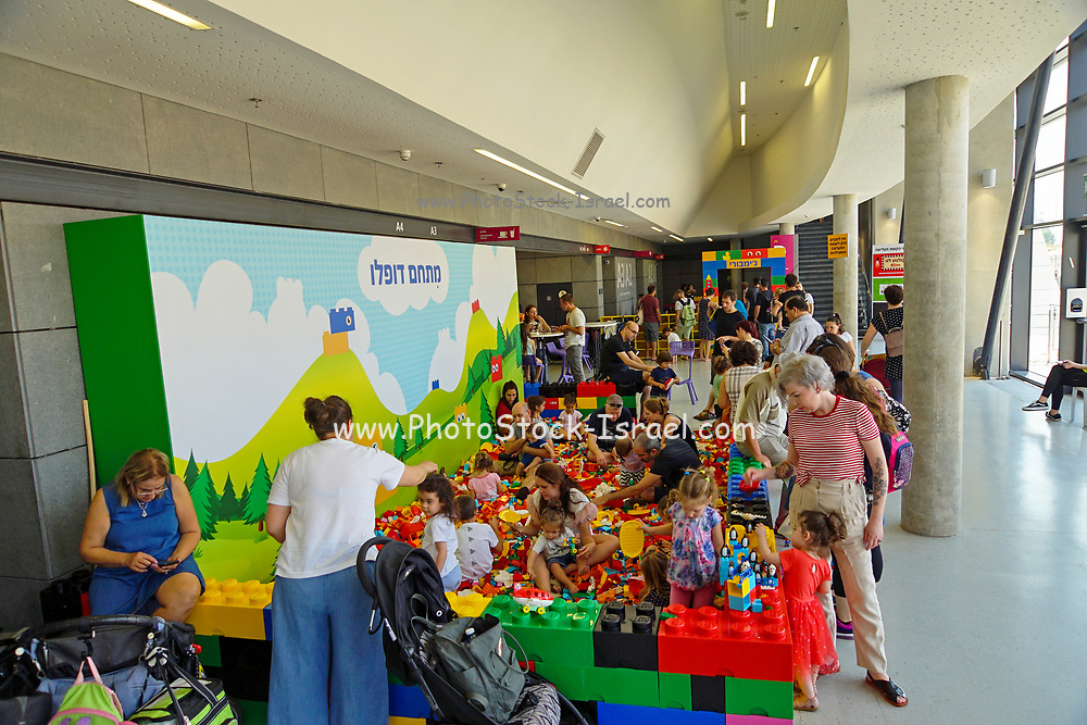 children play with Lego building blocks at the Holon Children's museum. Holon, Israel