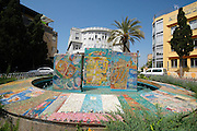The fountain and square in front of the Old, original Tel Aviv city hall building, Bialik street, Tel Aviv<br /> The fountain was built by Nahum Gutman, with mosaic scenes from the establishment of Tel Aviv and the state of Israel