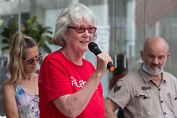 London, UK. 20th July, 2021. Jane Lee-Hopkinson of South Thanet CLP addresses supporters of left-wing Labour Party groups at a protest lobby outside the party's headquarters. The lobby was organised to coincide with a Labour Party National Executive Committee meeting during which it was asked to proscribe four organisations, Resist, Labour Against the Witchhunt, Labour In Exile and Socialist Appeal, members of which could then be automatically expelled from the Labour Party.
