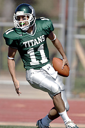 07 October 2006: WB Nick Panno makes it to the endzone on the 2nd play from scrimmage in the 1st quarter putting IWU in the early lead. The Titans of Illinois Wesleyan University started off strong with a touchdown on the 2nd play from scrimmage in the game.  The Titans led most of the way, but failed to maintain the lead in the 4th quarter giving up the decision of this CCIW conference game to the Red Men of Carthage by a score of 31 - 28. Action was at Wilder Field on the campus of Illinois Wesleyan University in Bloomington Illinois.<br />