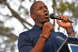 November 1, 2018 - Miami Gardens, Florida, United States Of America - MIAMI GARDENS, FLORIDA - NOVEMBER 01: Florida Democratic gubernatorial nominee Andrew Gillum greets people as he stumps for votes on November 1, 2018 in Miami Gardens, Florida. Gillum, the mayor of Tallahassee, is facing off in a close election against Republican candidate Ron DeSantis..People:  Andrew Gillum. (Credit Image: © SMG via ZUMA Wire)