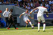 Dubois Léo of Lyon and Traore Bertrand of Lyon during the French championship L1 football match between Olympique Lyonnais and Amiens on August 12th, 2018 at Groupama stadium in Decines Charpieu near Lyon, France - Photo Romain Biard / Isports / ProSportsImages / DPPI