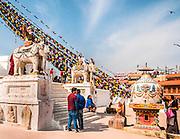 Prayer Flags at Boudhanath stupa in Kathmandu, Nepal