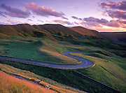 The winding pass of Mam Nick at sunset, Mam Tor, Peak District