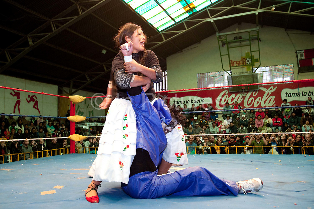 Female wrestler standing on and head locking male opponent in the ring. Lucha Libre wrestling origniated in Mexico, but is popular in other latin Amercian countries, including in La Paz / El Alto, Bolivia. Male and female fighters participate in the theatrical staged fights to an adoring crowd of locals and foreigners alike.
