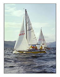 The Clyde Cruising Club's 1977 Tomatin Trophy the first Scottish Series held at Tarbert Loch Fyne.  An overnight race from Gourock to Campbeltown then on to Olympic Triangles in Loch Fyne. ..The yellow hull of JG Armstrong's, Casey, K6157 at the start of the offshore at Gourock