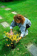 Woman age 30 placing flowers at Lakewood Cemetery.  Minneapolis Minnesota USA