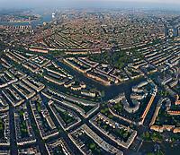 Aerial view of Amsterdam neighbourhood, Netherlands.