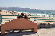 Couple Sitting on a Bench on the Manhattan Beach Pier Looking South