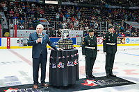 REGINA, SK - MAY 27:  CHL president David Branch stands with the Memorial Cup trophy at centre ice at Brandt Centre - Evraz Place on May 27, 2018 in Regina, Canada. (Photo by Marissa Baecker/CHL Images)