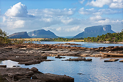 Carrao river with table mountains in background, Canaima National Park, Venezuela