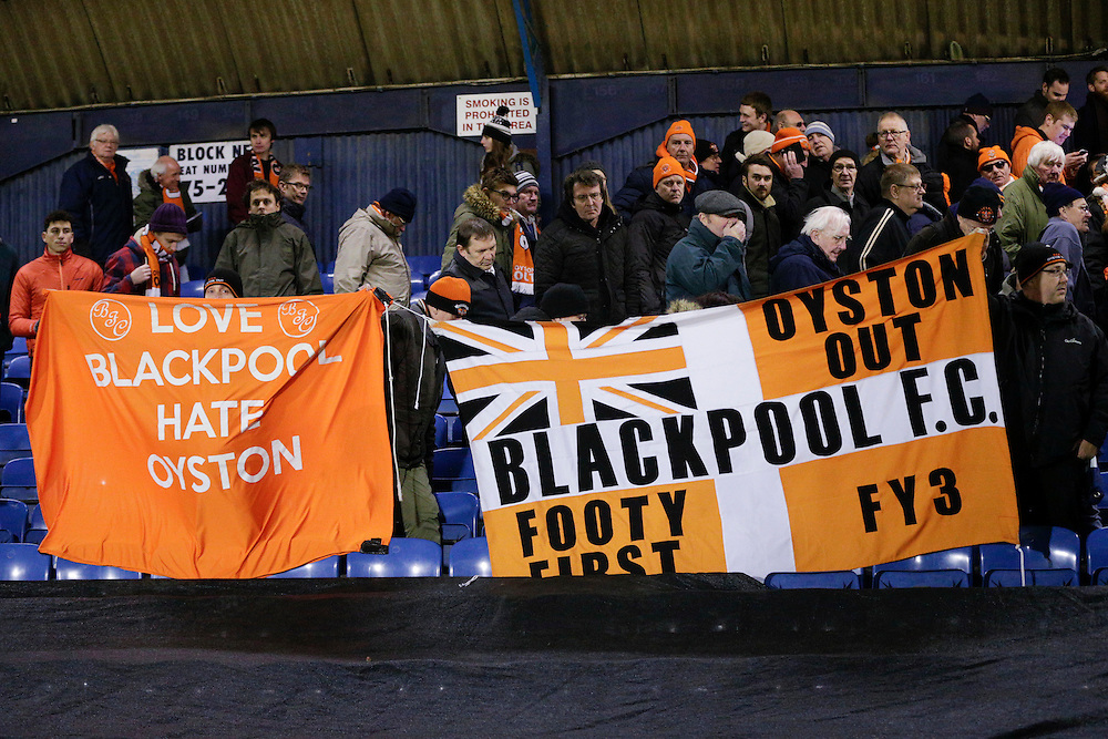 Blackpool fans protest against club owner Karl Oyston at the end of watching another defeat for their side<br /> <br /> Photographer Craig Mercer/CameraSport<br /> <br /> Football - The Football League Sky Bet League One - Southend United v Blackpool - Saturday 21st November 2015 - Roots Hall - Southend<br /> <br /> © CameraSport - 43 Linden Ave. Countesthorpe. Leicester. England. LE8 5PG - Tel: +44 (0) 116 277 4147 - admin@camerasport.com - www.camerasport.com