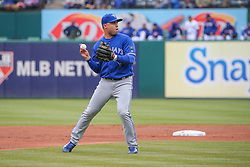 April 8, 2018 - Arlington, TX, U.S. - ARLINGTON, TX - APRIL 08: Toronto Blue Jays infielder Aledmys Diaz (1) throws to first base during the game between the Toronto Blue Jays and Texas Rangers on April 8, 2018 at Globe Life Park in Arlington, Texas. (Photo by George Walker/Icon Sportswire) (Credit Image: © George Walker/Icon SMI via ZUMA Press)