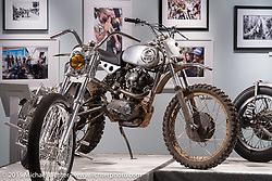 """Bryan Fuller's (Fuller Moto) 1962 250cc Ducati Scrambler in Michael Lichter's Motorcycles as Art annual exhibition titled """"The Naked Truth"""" at the Buffalo Chip Gallery during the 75th Annual Sturgis Black Hills Motorcycle Rally.  SD, USA.  August 4, 2015.  Photography ©2015 Michael Lichter."""