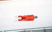 CALGARY, CANADA - FEBRUARY 1988:  Markus Prock of Austria competes in the Men's Singles Luge event of the 1988 Winter Olympics at the Canada Olympic Park bobsled and luge track near Calgary, Canada.  (Photo by David Madison/Getty Images)