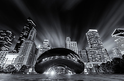 The Anish Kapoor designed sculpture Cloud Gate. Nicknamed The Bean in Millennium Park, Chicago