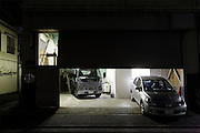 halve open garage door during night