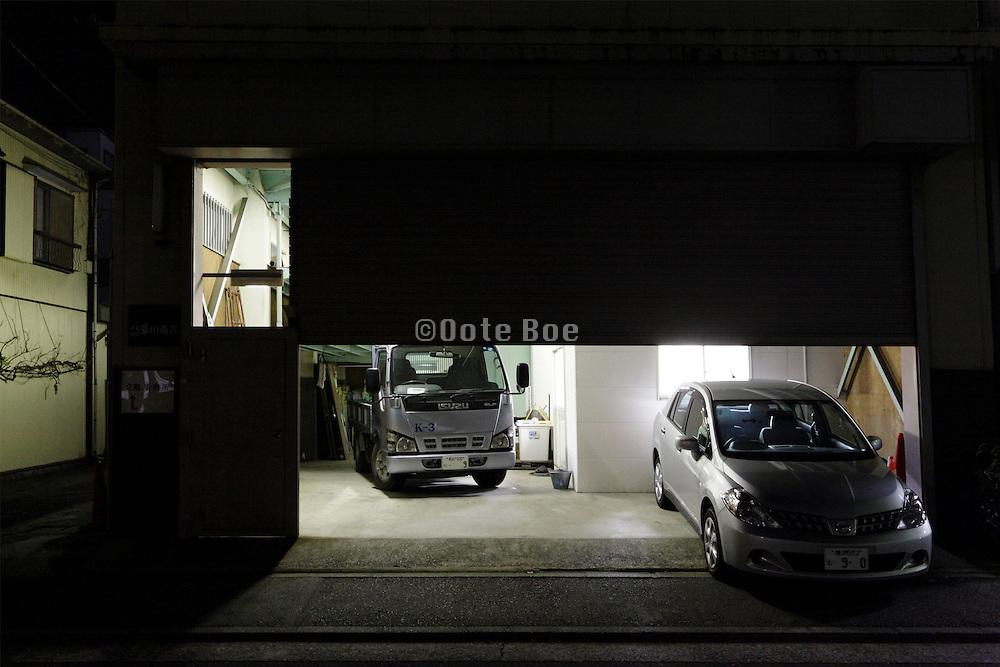 halve open garage door during night