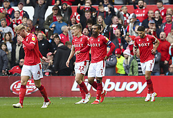 Nottingham Forest's Lewis Grabban (second right) celebrates scoring his side's second goal during the Sky Bet Championship match at the City Ground, Nottingham. Picture date: Saturday October 16, 2021.