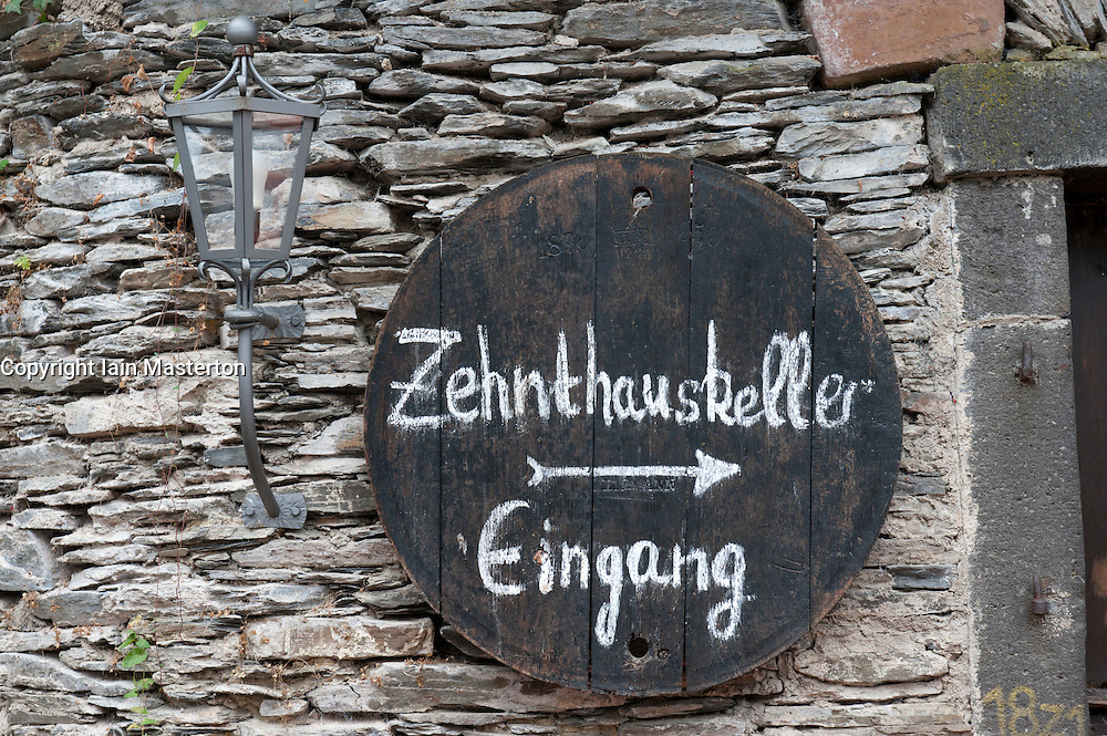 Sign outside wine shop  in Beilstein village on River Mosel in Rhineland-Palatinate Germany