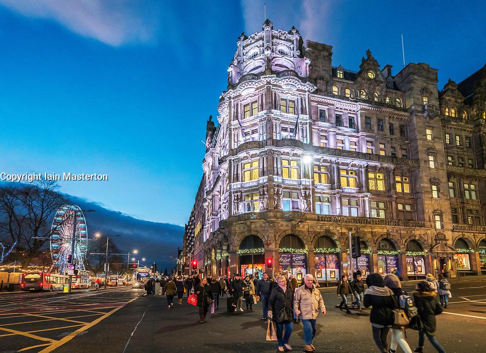 Night exterior view of Jenners department Store in Edinburgh, Scotland, United Kingdom