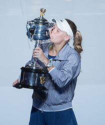 MELBOURNE, Jan. 27, 2018  Denmark's Caroline Wozniacki poses with her trophy during the awarding ceremony of the women's singles final match against Romania's Simona Halep at Australian Open 2018 in Melbourne, Australia, Jan. 27, 2018. (Credit Image: © Zhu Hongye/Xinhua via ZUMA Wire)