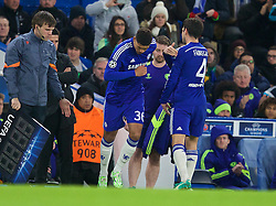 LONDON, ENGLAND - Wednesday, December 10, 2014: Chelsea's substitute Ruben Loftus-Cheek replaces Cesc Fabregas against Sporting Clube de Portugal during the final UEFA Champions League Group G match at Stamford Bridge. (Pic by David Rawcliffe/Propaganda)