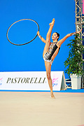 """Agiurgiuculese Alexandra during hoop routine at the International Tournament of rhythmic gymnastics """"Città di Pesaro"""", 03 April,2016. Alexandra is an Italian individualistic gymnast, of Romanian origins, born in Lasi, 15 January, 2001.<br /> This tournament dedicated to the youngest athletes is at the same time of the World Cup."""