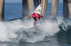 July 31, 2018 - Huntington Beach, California, United States - Huntington Beach, CA - Tuesday July 31, 2018: Ezekiel Lau in action during a World Surf League (WSL) Qualifying Series (QS) Men's round of 96 heat at the 2018 Vans U.S. Open of Surfing on South side of the Huntington Beach pier. (Credit Image: © Michael Janosz/ISIPhotos via ZUMA Wire)