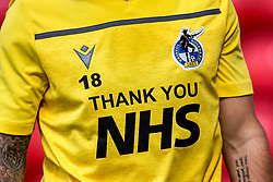 Bristol Rovers thank the NHS on the front of the training top - Mandatory by-line: Robbie Stephenson/JMP - 12/09/2020 - FOOTBALL - Stadium of Light - Sunderland, England - Sunderland v Bristol Rovers - Sky Bet League One