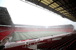 A general view of snow falling on the bet365 Stadium