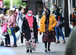 © Licensed to London News Pictures. 22/10/2020. City, UK. Shoppers pictured in Swansea city centre, south Wales, on the day before non-essential shops close due to the 'Firebreak Lockdown' which has been implemented by the Welsh Government. Photo credit: Robert Melen/LNP