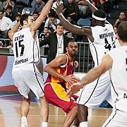 Galatasaray's Joshua Ian Shipp (C) during their BEKO Basketball League match Besiktas between Galatasaray at the Sinan Erdem Arena in Istanbul at Turkey on Saturday, December, 17, 2011. Photo by TURKPIX