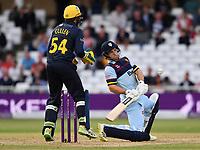 Cricket - 2021 Royal London 50-over Cup - Final - Glamrogan vs Durham - Trent Bridge<br /> <br /> Sean Dickson of Durham evades the ball.<br /> <br /> COLORSPORT/Ashley Western