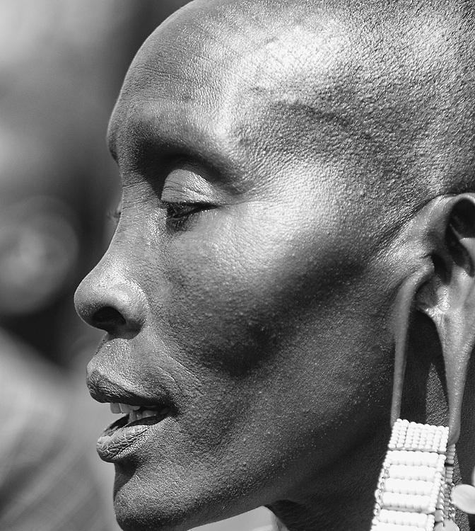 Closeup portrait of Maasai woman in Tanzania