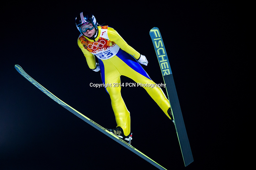 Maren Lundby (NOR) competing in Women's Ski Jumping at t he Olympic Winter Games, Sochi 2014