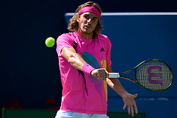 August 10, 2018 - Toronto, ON, U.S. - TORONTO, ON - AUGUST 10: Stefanos Tsitsipas (GRE) returns the ball during his Quarter-Finals match of the Rogers Cup tennis tournament on August 10, 2018, at Aviva Centre in Toronto, ON, Canada. (Photo by Julian Avram/Icon Sportswire) (Credit Image: © Julian Avram/Icon SMI via ZUMA Press)