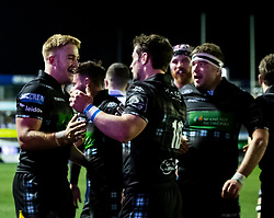 Peter Horne of Glasgow Warriors celebrates scoring his sides third try<br /> <br /> Photographer Simon King/Replay Images<br /> <br /> Guinness PRO14 Round 15 - Cardiff Blues v Glasgow Warriors - Saturday 16th February 2019 - Cardiff Arms Park - Cardiff<br /> <br /> World Copyright © Replay Images . All rights reserved. info@replayimages.co.uk - http://replayimages.co.uk