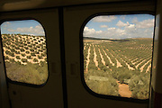 Train between Seville and Granada - ANDALUSIA region - Spain. Route by train after the steps of Washington Irving, romantic American writer who travelled in 1829 from Seville to Granada, where he wrote 'Tales of the Alhambra'. Fascinated by the wealth and exoticism of the Spanish-Muslim civilization, Irving was responsible, along with the French writers of the 19th century, for the romantic image of Al-Andalus. Alberto Paredes / 4SEE