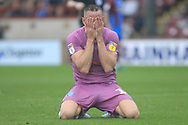 Aaron Wilbraham head in hands, after missing a chance to win the game during the EFL Sky Bet League 1 match between Scunthorpe United and Rochdale at Glanford Park, Scunthorpe, England on 8 September 2018.