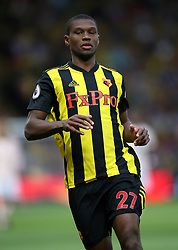 """Watford's Christian Kabasele during the Premier League match at Vicarage Road, Watford PRESS ASSOCIATION Photo. Picture date: Saturday September 15, 2018. See PA story SOCCER Watford. Photo credit should read: Nigel French/PA Wire. RESTRICTIONS: EDITORIAL USE ONLY No use with unauthorised audio, video, data, fixture lists, club/league logos or """"live"""" services. Online in-match use limited to 120 images, no video emulation. No use in betting, games or single club/league/player publications."""